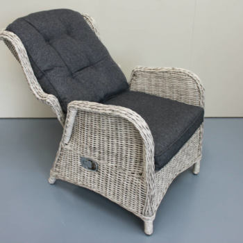 Highland recliner chair in white - close up of outdoor furniture reclining feature