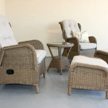 Wicker recliners and footstool - 5 piece set - outdoor furniture New Zealand