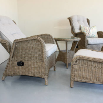 Close up of reclining outdoor furniture from Mountain Weave