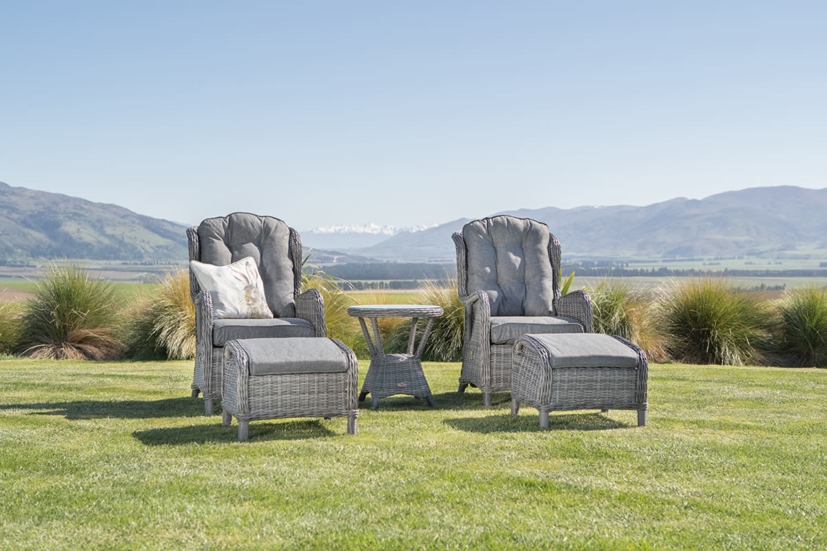 Wicker reclining outdoor furniture from Mountain Weave