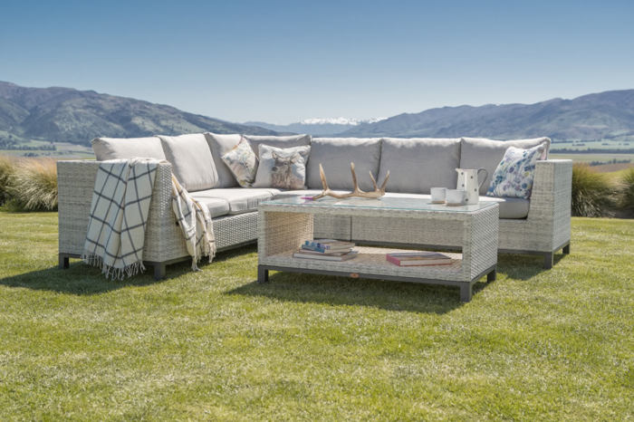 Wicker outdoor furniture corner suite. Mountain Weave - Premium Outdoor Furniture NZ