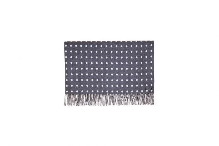 Foxford Lambs Wool - Charcoal & White Spot Throw, Outdoor Furniture accessories NZ