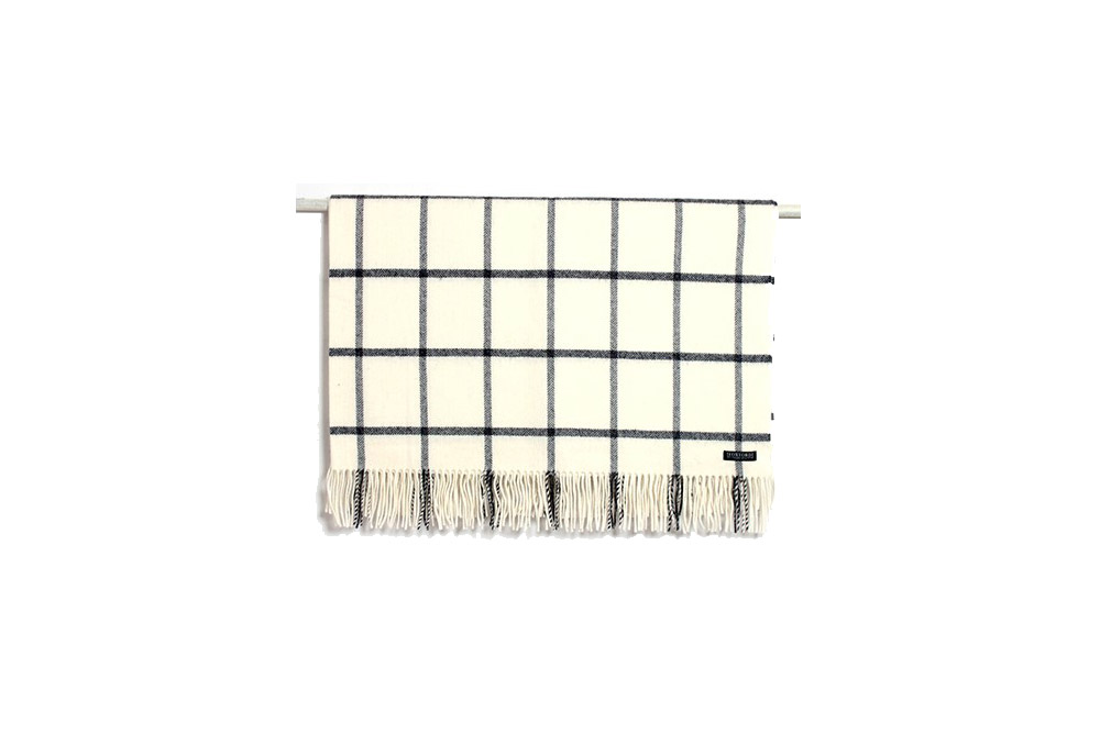 Foxford Lambs Wool - White & Charcoal Check Throw,Outdoor Furniture accessories NZ