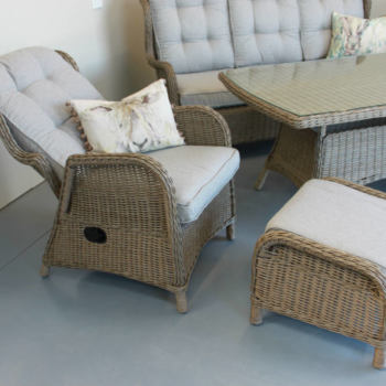 Close up of the reclining chair - Wicker, outdoor Reclining coffee suite from Mountain Weave