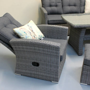 Close up of reclining feature of the reclining outdoor furniture from Mountain Weave