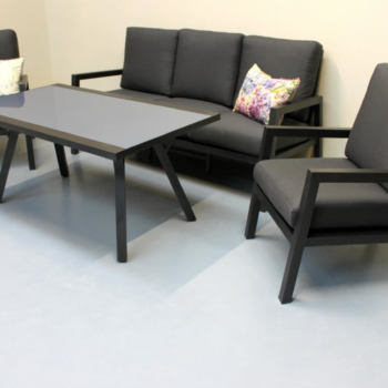 Aluminium outdoor coffee table and chairs - New Zealand Outdoor Furniture