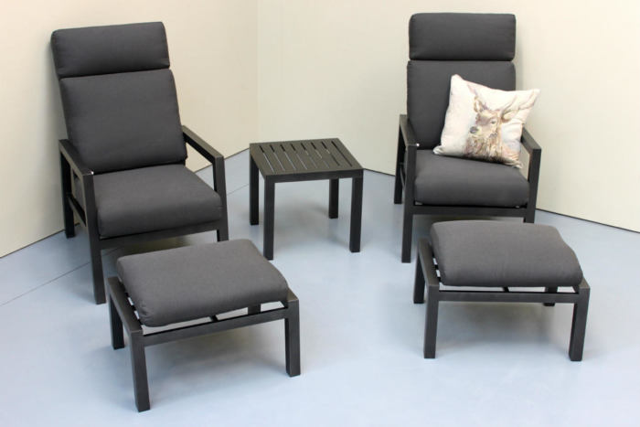 Aluminium outdoor recliners with cushions and foot stools, from Mountain Weave, Otago